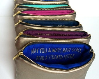 Eight Gold Leather Bags w. Custom Messages // Personalized Bridesmaids Gifts