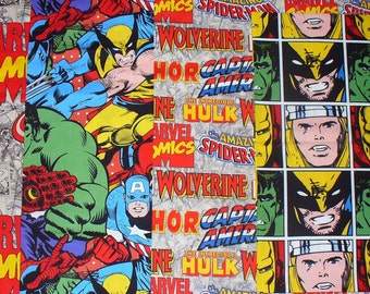 Marvel Super Heroes Comics Fabric,  Ironman, Hulk, Thor, Captain America, Wolverine, Over Sized, Marvel Logos, 4 Fat Quarters