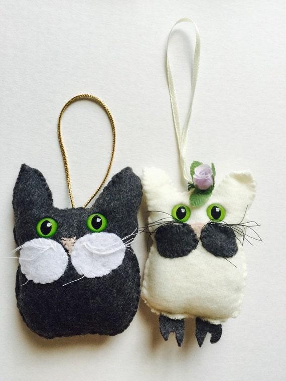 gray owl cat - white owl cat - Cat Ornament - Woodland Nursery Decor - Woodland Baby Shower - Owl Nursery Decor - Felt Ornaments - Felt Owl