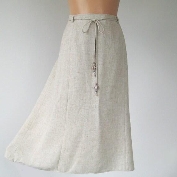 vintage skirt a line beige oatmeal fabric large
