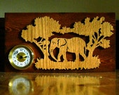 Wooden Elephant Desk Clock