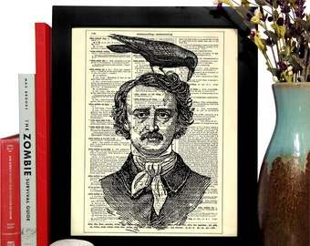 Edgar Allan Poe With Raven, Home, Kitchen, Nursery, Office Decor, Wedding Gift, Eco Friendly Book Art, Vintage Dictionary Print, 8 x 10 in.