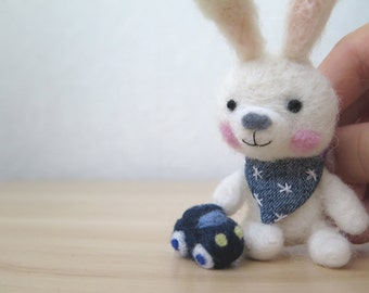 Gift for her daughter Wool felt bunny toy Felted miniature white rabbit with a car Amigurumi animal Soft plush hare Eco friendly handmade