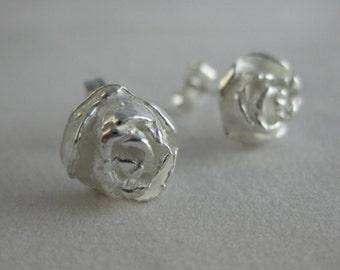 Pine Flower Shimmers- Fine Silver Stud Earrings-Nature Inspired-Minimalist-Pine Cone Rose Earrings-Silver Stud Earrings