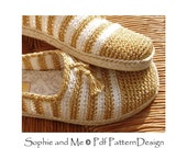 Gold and White Slippers/Espadrilles - Crochet Pattern - Instant Download Pdf