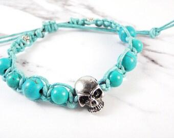 Skull Bracelet - Turquoise Bead Bracelet, Skull bead