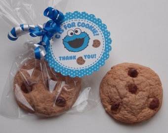 10 COOKIE SOAP FAVORS {With Tags & Curly Ribbons} - Sesame Street, Cookie Monster, C Is For Cookie, Cookie Soap Favor, Birthday Party Favor
