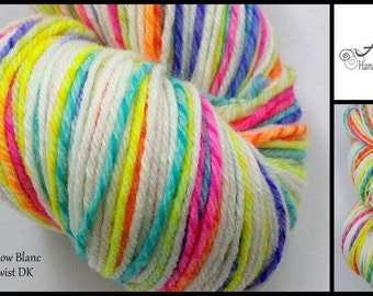 Neon Rainbow Blanc 4oz Licorice Twist Merino Wool DK Light Worsted 280yds White Rainbow