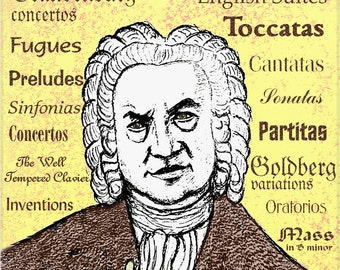 J S BACH - portrait art print of the great composer