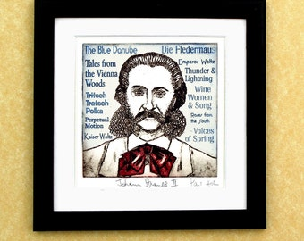 "Johann Strauss Jr - a portrait art print of ""The Waltz King"""