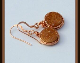 Druzy Agate Rose Gold Filled Earrings