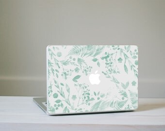 SALE!! Flower Macbook Decal - Mint Green Watercolour Flower MacBook Laptop Skin