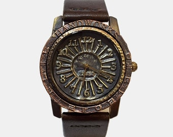Vintage Retro Steampunk Handcraft Wrist Watch with Handstitch Leather Band /// MataoneM - Perfect Gift for Birthday and Anniversary