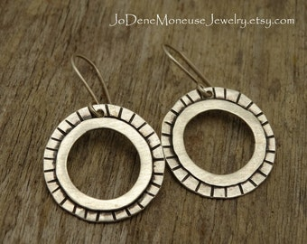 Circles and stripes earrings, hand fabricated, hand textured, sterling silver metalsmith earrings, hammered hoop earrings