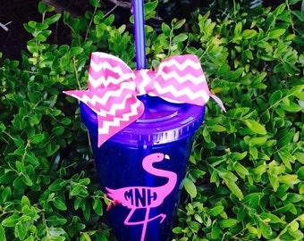 Personalized Tumbler With Flamingo Design