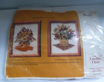 Vintage Crewel Work Kit 1979 Sunflowers and Daisies Crewel Work Stitch Kit Complete with Persian Wool Yarn