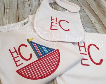 Monogrammed Baby Boy Gift Set Gown or Onesie Bib Burp Cloth - baby shower gift set - sailboat baby gift