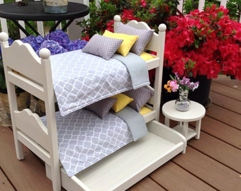 Bunk Bed gray yellow bedding for 18 in American Girl or Boy Doll