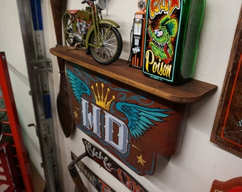 Hand painted garage art v8 power metal panel for Tattoo shops in bowling green ohio