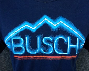 1980s Busch Beer neon t shirt USA L