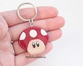 Polymer Clay Key Chain- Mario Mushroom- Nintendo- Ready To Ship
