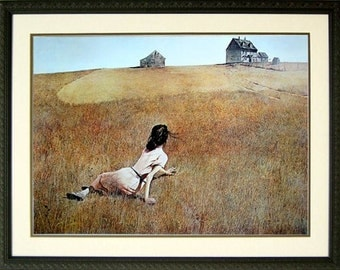 Christina's World By Andrew Wyeth Painting Girl on Field Framed Art Print 20x15