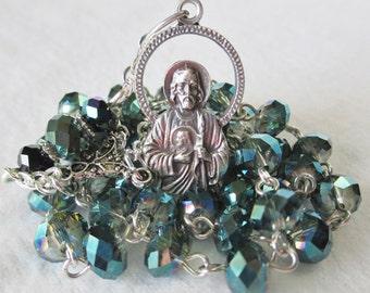 Handmade 40 Bead Chaplet of St. Jude, Teal Crystal Rondelle Beads, Lovely Figural St. Jude Medal