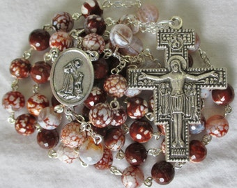 Handmade Catholic Rosary, 8mm Faceted Brown Fire Agate Gemstone Beads, St Francis & St Anthony Center, San Damiano Crucifix