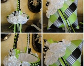 Flower Girl Basket & Ring Bearer Pillow Set Custom Made to your Colors with Satin Flowers and Pearls, Wedding Accessories