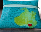 Floppy Eared Dog Turquoise Vinyl Pouch