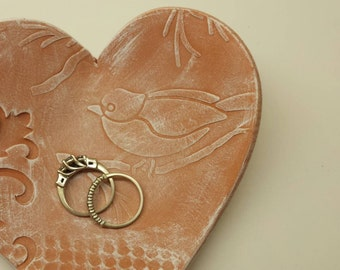 Rustic Handmade Pottery Wedding Heart Ring Dish with Lace and Bird