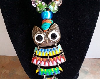 Whimsical Colorful Owl Silk Ribbon Necklace/Pendant