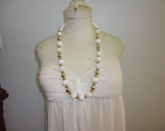 Authentic Vintage White Silver Gold Chunky Long Necklace