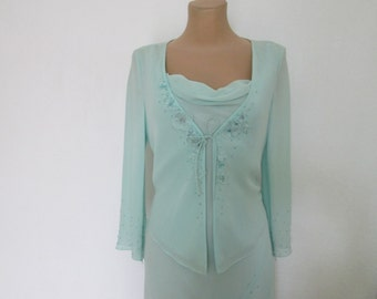 Silk Dress Suit Vintage / Light Turquoise / 2 pc Dress Suit / Size EUR 36 / 38 X UK8 / 10