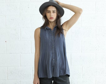 Pleated Tunic Top, Blue.
