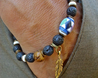 Native American Men's Bracelet with Lava, White Turquoise, Carved Bone, Feather Charm, Ceramic Bead with Native American Art, Wood, Brass