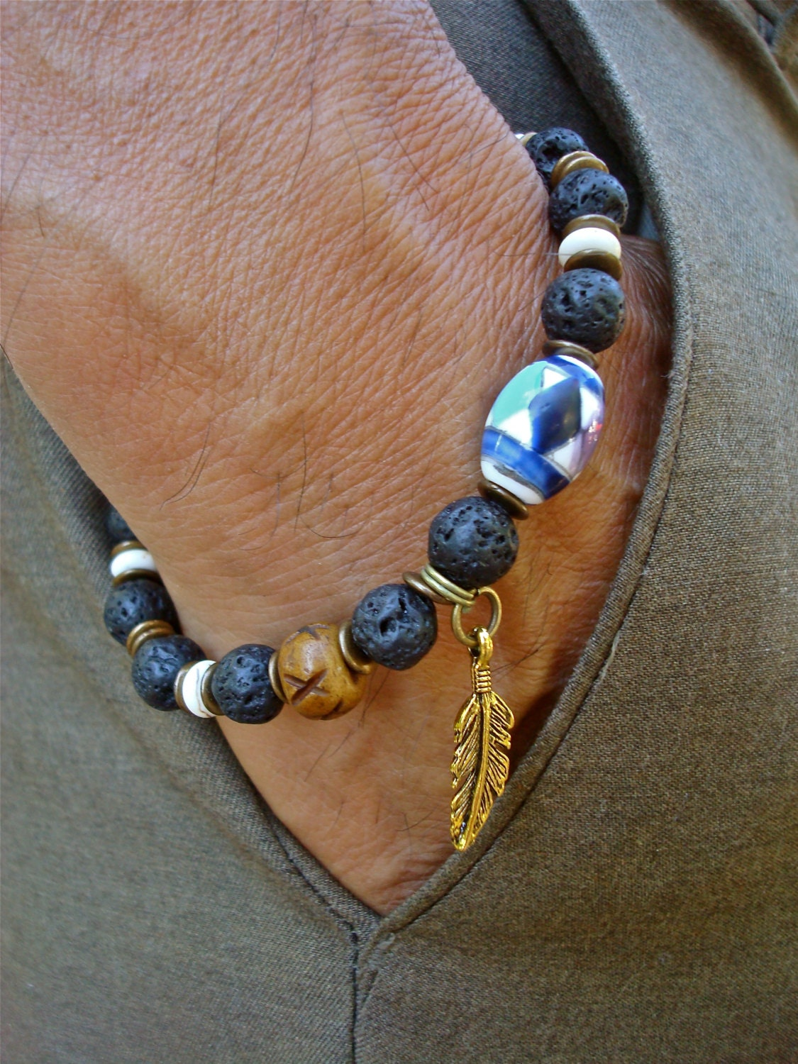 Native American Men S Bracelet With Lava White Turquoise