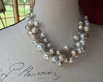 4 or more Cluster pearl necklace, bridesmaid jewelry, chunky Pearl necklace, statement necklace in ivory,champagne and white pearls