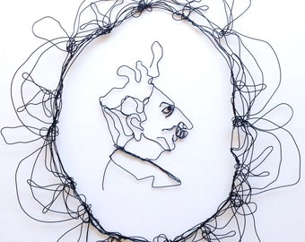 Wire wall art Caricature of a  Man Profile  -  Nosey Parker Man  - Metal sculpture -