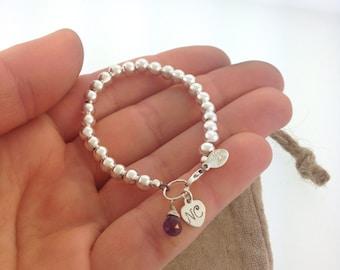 Initial baby bracelet with Gemstone, flower girls, new baby girl, baby's first bracelet