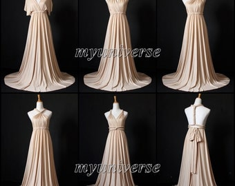 Champagne Bridesmaid Dress Wrap Convertible Dress Infinity Dress Maxi Dress Wedding Dress Plus Size Flower Girl Dress Formal Evening Gown