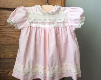 Vintage Baby Girl's Dress Pink Lace Flowers 12 months