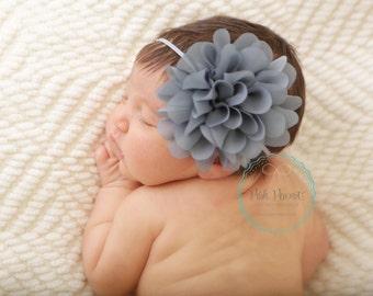 skinny headband, gray infant headband,newborn headband, baby headband, girls headband, headbands, infant headband, silver headband