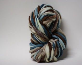 Thick and Thin Yarn Handspun Wool Slub  Hand Dyed tts(tm) Merino Bulky Self Striping xxLRH 1507c