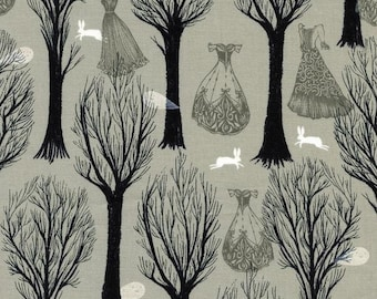 Spellbound Haunted Forest in Pearlescent Light Grey, Sarah Watts, Cotton+Steel, RJR Fabrics, 100% Cotton Fabric, 5007-2