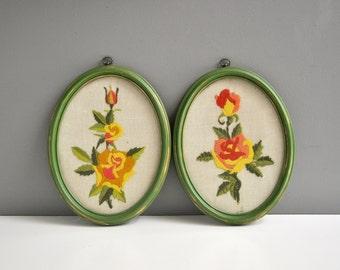 Vintage Floral Framed Crewel Wall Hangings