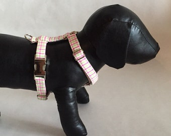 Preppy Pink and Green Gingham Dog Harness, Check Dog Harness, Custom Dog Harness, Plaid Dog Harness, Pink and Green, Girl Dog Harness