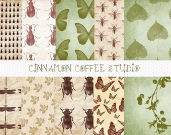 Natural History Digital Papers, Halloween Digital Backgrounds, Beetle, Fly, Dragonfly Papers, set of 10