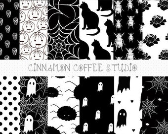Black Halloween Scrapbooking Papers, Halloween Backgrounds, Black Halloween Papers, Halloween Digital Paper Pack