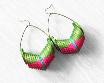 Colorful woven paper upcycled dangle earrings